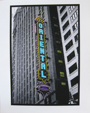 Watercolored photo - Chicago marquees: Oriental Theater
