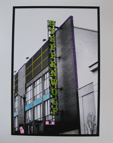 Watercolored photo - Chicago marquees: Steppenwolf Theater