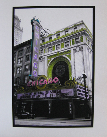 Watercolored photo - Chicago marquees: Chicago Theater