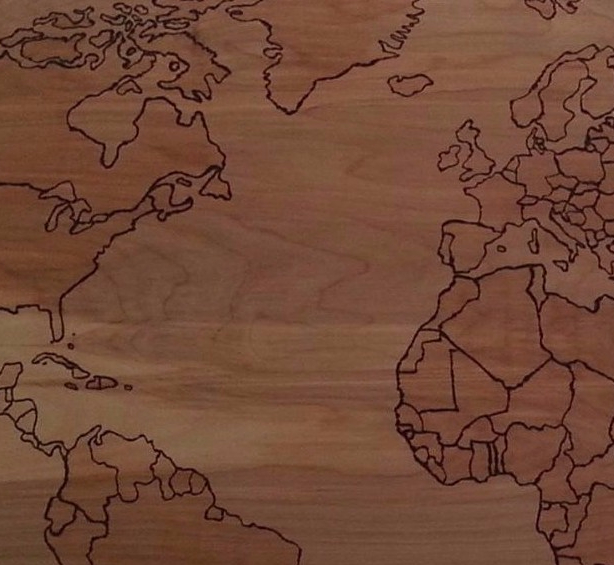 pyrography (wood burning) map