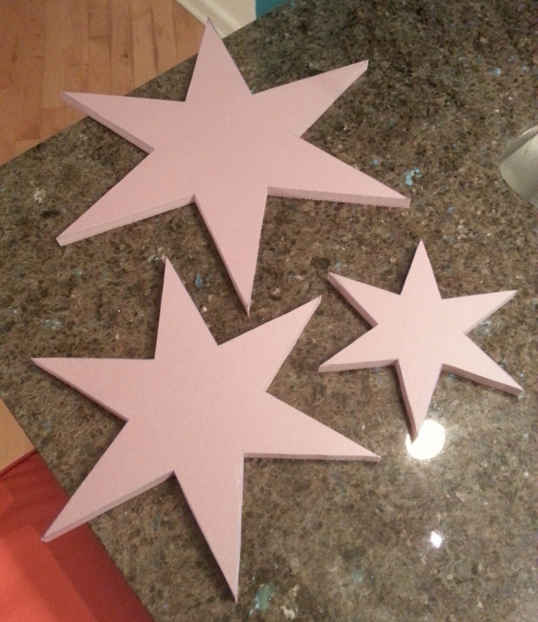 6-pointed Chicago stars cut from foam