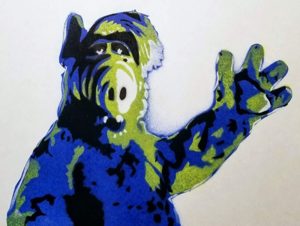 Stencil art painting of ALF