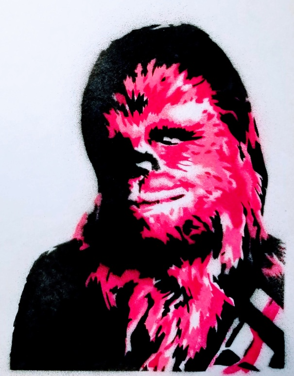 Stencil art painting of Chewbacca
