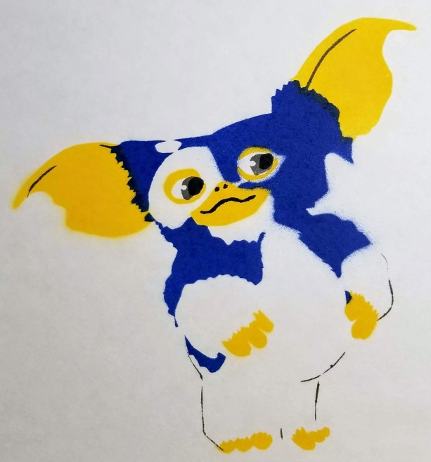 Stencil art painting of Gizmo