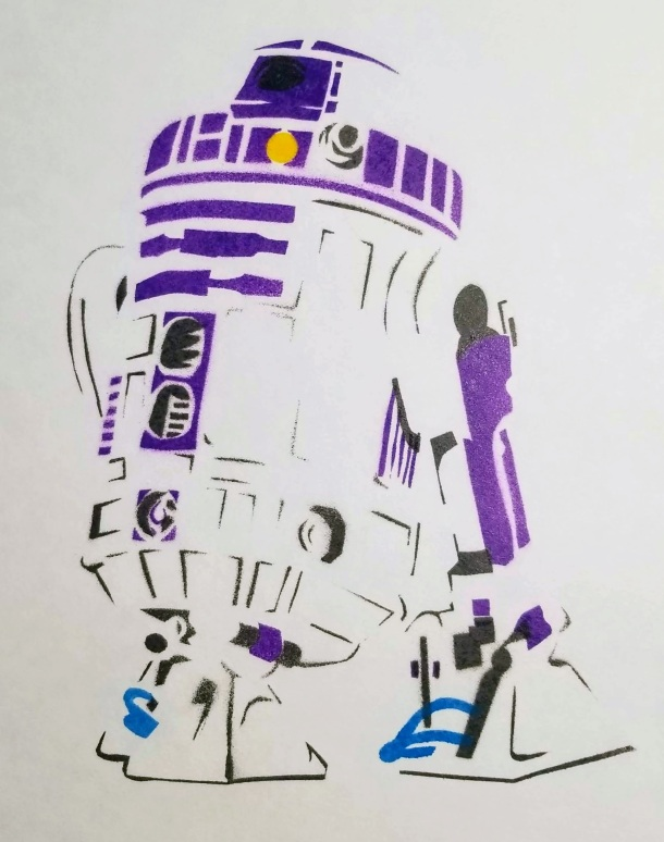 Stencil art painting of R2D2