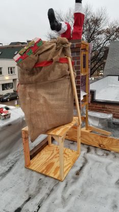 Santa's bag, mounted and topped with a gift.